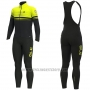2019 Cycling Jersey ALE Slide Yellow Black Long Sleeve and Bib Tight