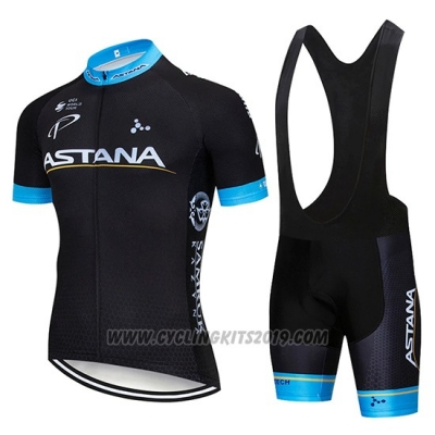 2019 Cycling Jersey Astana Black Blue Short Sleeve and Bib Short
