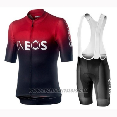 2019 Cycling Jersey Castelli Ineos Black Red Short Sleeve and Bib Short