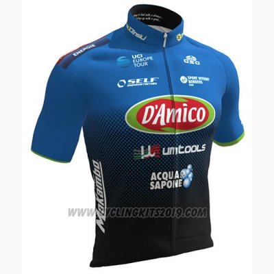 2019 Cycling Jersey Damico Area Black Blue Short Sleeve and Bib Short