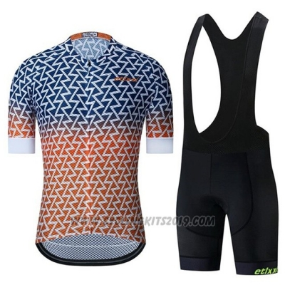 2019 Cycling Jersey Etixxl Blue Orange Short Sleeve and Bib Short