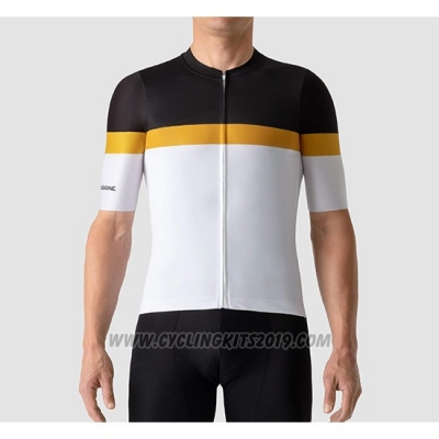2019 Cycling Jersey La Passione Black Yellow White Short Sleeve and Bib Short