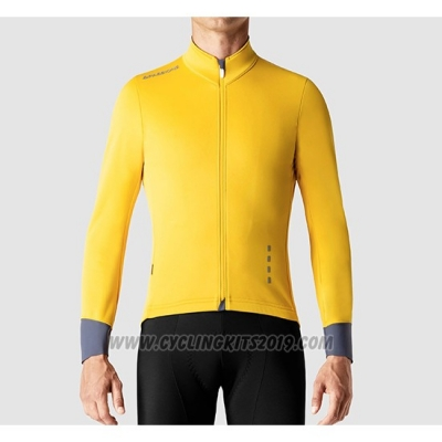 2019 Cycling Jersey La Passione Yellow Gray Long Sleeve and Bib Tight