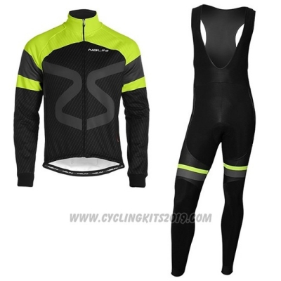 2019 Cycling Jersey Nalini Black Green Long Sleeve and Bib Tight