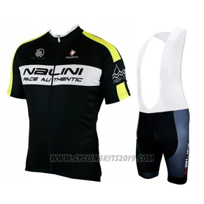 2019 Cycling Jersey Nalini Black Yellow Short Sleeve and Bib Short
