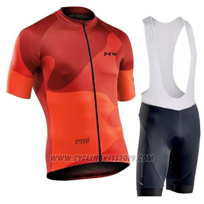 2019 Cycling Jersey Northwave Orange Short Sleeve and Bib Short