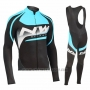 2019 Cycling Jersey Northwave Sky Blue White Black Long Sleeve and Bib Tight
