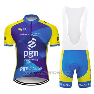 2019 Cycling Jersey PGN Blue Bright Yellow Short Sleeve and Bib Short