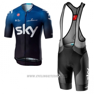 2019 Cycling Jersey Sky Aero Black Blue Short Sleeve and Bib Short