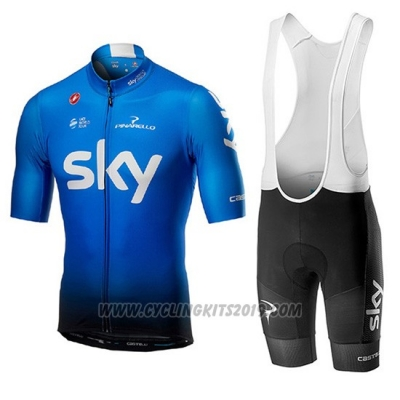 2019 Cycling Jersey Sky Blue Short Sleeve and Bib Short
