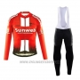 2019 Cycling Jersey Sunweb Orange White Long Sleeve and Bib Tight