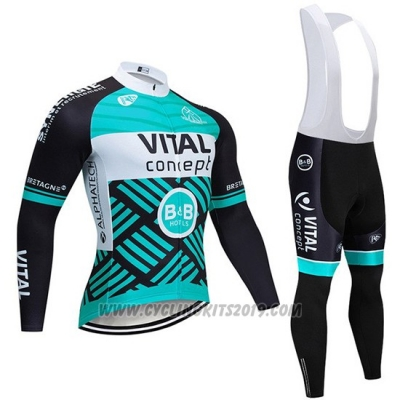 2019 Cycling Jersey Vital Concept Blue White Black Long Sleeve and Bib Tight