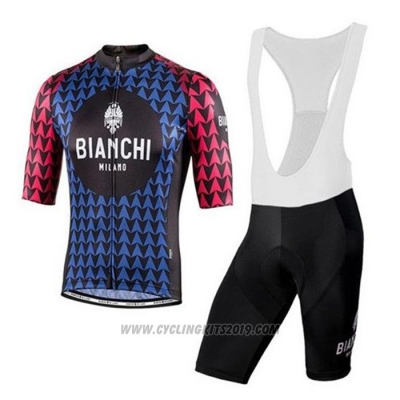 2020 Cycling Jersey Bianchi Black Blue Red Short Sleeve and Bib Short