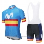 2020 Cycling Jersey Movistar Champions Spain Blue Short Sleeve and Bib Short