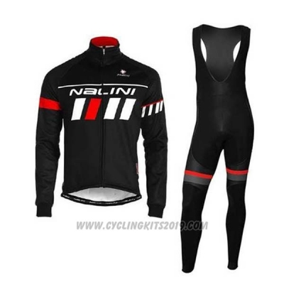 2020 Cycling Jersey Nalini Black Red White Long Sleeve and Bib Tight