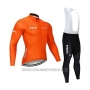 2020 Cycling Jersey STRAVA Orange Long Sleeve and Bib Tight
