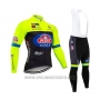 2020 Cycling Jersey Wieiev Green Black Long Sleeve and Bib Tight