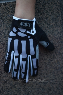 Skull Full Finger Gloves Cycling Black and Gray