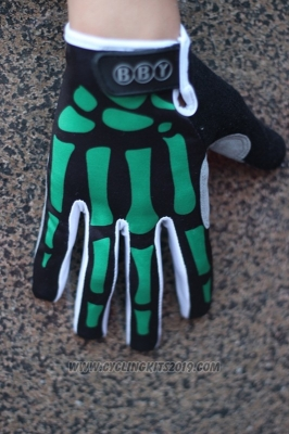 Skull Full Finger Gloves Cycling Black and Green