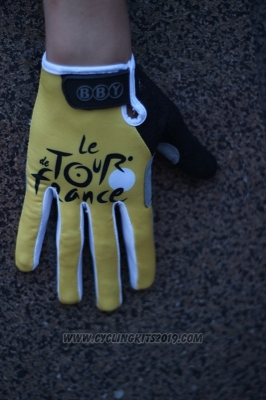 Tour De France Full Finger Gloves Cycling Yellow and Black