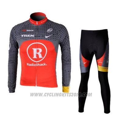 2010 Cycling Jersey Radioshack Orange and Gray Long Sleeve and Bib Tight Pantaloni