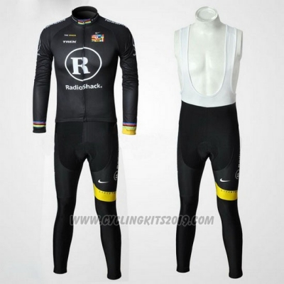 2010 Cycling Jersey Radioshackp Black Long Sleeve and Bib Tight