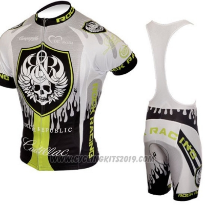 2010 Cycling Jersey Rock Racing Silver and Green Short Sleeve and Bib Short
