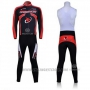 2011 Cycling Jersey Merida Black and Red Long Sleeve and Bib Tight