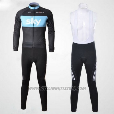 2011 Cycling Jersey Sky Black and Sky Blue Long Sleeve and Bib Tight