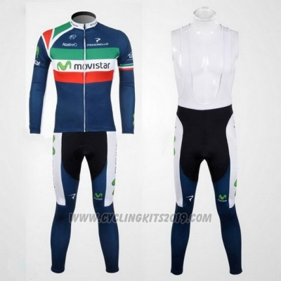 2012 Cycling Jersey Movistar Campione Italy Long Sleeve and Bib Tight