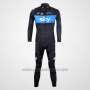 2012 Cycling Jersey Sky Black and Sky Blue Long Sleeve and Bib Tight