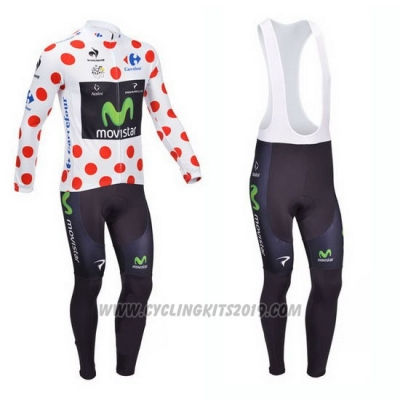 2013 Cycling Jersey Movistar Lider White and Red Long Sleeve and Bib Tight
