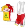 2013 Cycling Jersey Wallonie Bruxelles Yellow and Red Short Sleeve and Bib Short
