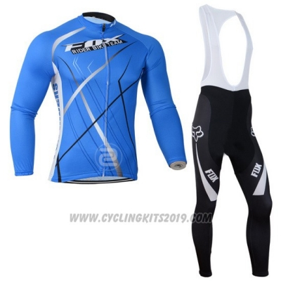 2014 Cycling Jersey Fox Sky Blue Long Sleeve and Bib Tight