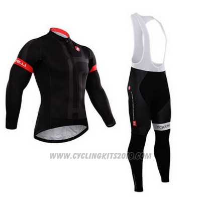 2015 Cycling Jersey Castelli Dark Black Long Sleeve and Bib Tight