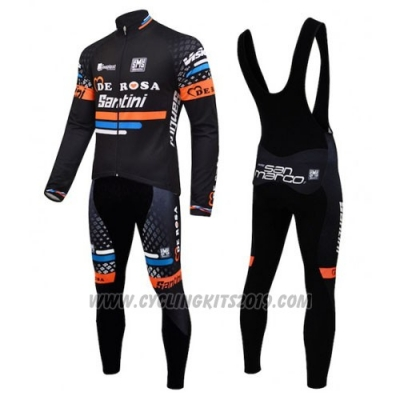 2015 Cycling Jersey De Pink Black and Orange Long Sleeve and Bib Tight