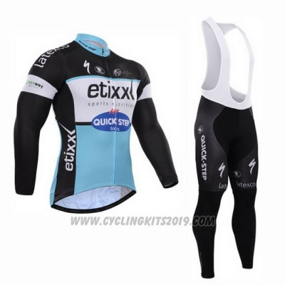 2015 Cycling Jersey Etixx Quick Step Black and White Long Sleeve and Bib Tight