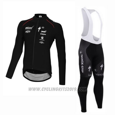 2015 Cycling Jersey Ettix Quick Step Black Long Sleeve and Bib Tight