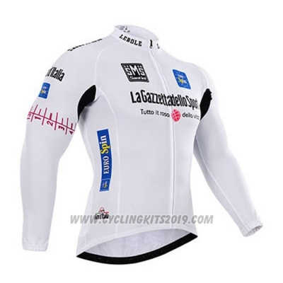 2015 Cycling Jersey Giro D'italy White Long Sleeve and Bib Tight