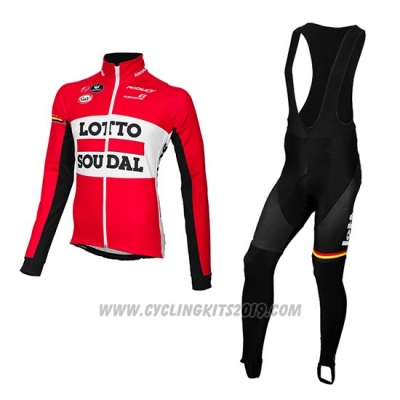 2015 Cycling Jersey Lotto Soudal Red and Black Long Sleeve and Bib Tight