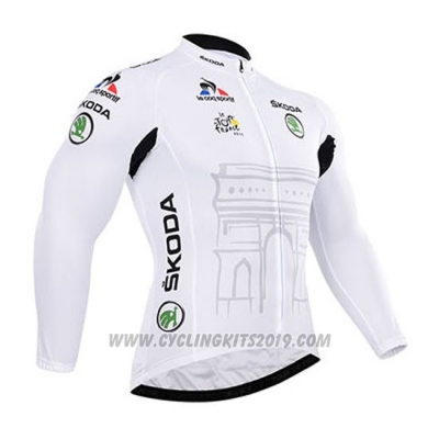 2015 Cycling Jersey Tour de France White Long Sleeve and Bib Tight