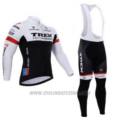 2015 Cycling Jersey Trek Factory Racing Factory Racing White and Black Long Sleeve and Bib Tight
