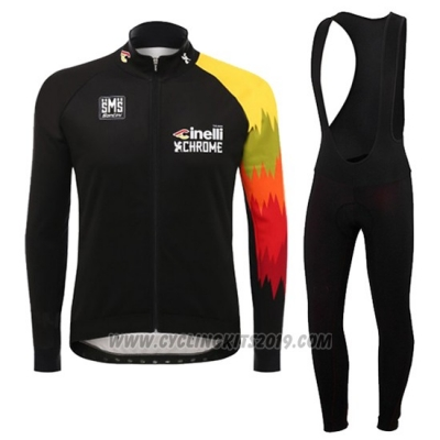 2016 Cycling Jersey Cinelli Chrome Black and Yellow Long Sleeve and Bib Tight
