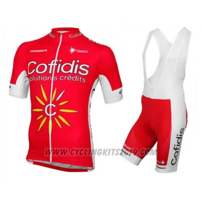 2016 Cycling Jersey Cofidis Red and White Short Sleeve and Bib Short