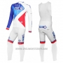 2016 Cycling Jersey FDJ White and Blue Long Sleeve and Bib Tight