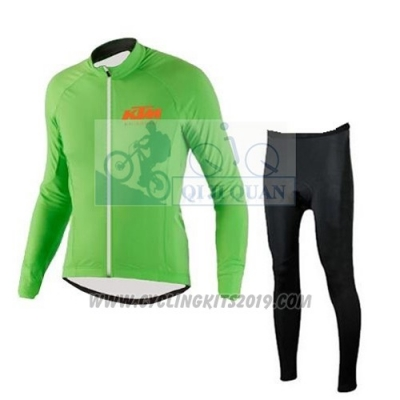 2016 Cycling Jersey Ktm Green Long Sleeve and Salopette