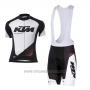 2016 Cycling Jersey Ktm White and Black Short Sleeve and Salopette