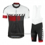 2016 Cycling Jersey Scott Red and White Short Sleeve and Salopette