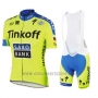 2016 Cycling Jersey Tinkoff Saxo Bank Yellow and Blue Short Sleeve and Bib Short