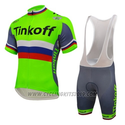 2016 Cycling Jersey UCI Mondo Campione Tinkoff Green Short Sleeve and Bib Short